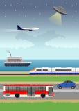 Земля, вода и воздушный транспорт Стоковое Изображение