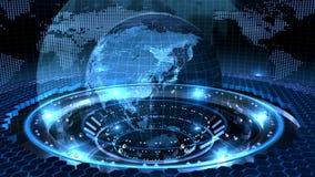 Земля вращанная на голубой петле иллюстрация вектора