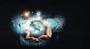 земля вручает нашу планету Стоковая Фотография