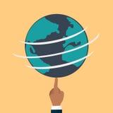 Земля глобуса плоская Иллюстрация штока