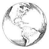 Земля глобуса чертежа ручки Стоковые Фото