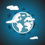 Земля, глобус с автомобилями, облаками, деревьями Стоковое фото RF