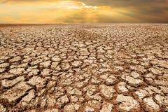 Земля засухи и треснутая земля в восходе солнца с изменением климата Стоковое Фото
