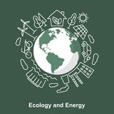 Земля и источники энергии Экологическая разработка концепции электрическая Стоковые Фотографии RF