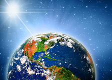 Земля и свет планеты Стоковые Фотографии RF