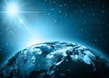 Земля и свет планеты Стоковое Изображение