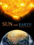 Земля и Солнце, глобальное потепление Стоковая Фотография RF