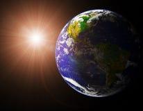 Земля и Солнце Стоковое Изображение RF