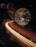 Земля и шоссе планеты в космосе Стоковые Фотографии RF