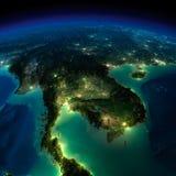 Земля ночи. Зона треугольника Бермудских Островов Стоковые Фото