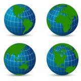 Земля от различной карты углов с тенью Стоковая Фотография