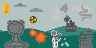Земля проблем Eco горизонтальная Стоковые Изображения