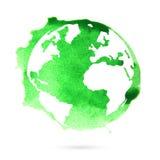 Земля планеты акварели зеленая Стоковое Изображение RF