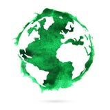 Земля планеты акварели пятно Стоковая Фотография
