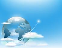 Земля планеты в облаках против неба иллюстрация штока
