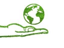 Земля планеты в руке Стоковое Изображение RF