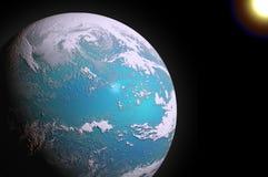 Земля планеты и Солнце (произведенный компьютер) Стоковое Изображение