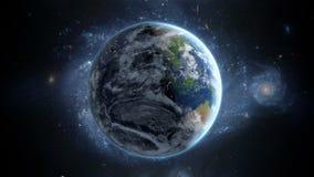Земля планеты как увидено от космоса С предпосылкой звезд Реалистическая 3D анимация бесплатная иллюстрация