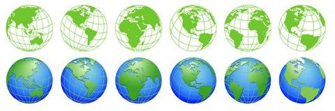 Земля планеты, карты глобуса мира, комплект значков экологичности иллюстрация штока