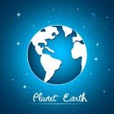 Земля планеты над предпосылкой неба вектор Стоковая Фотография