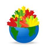 Земля планеты с листьями осени клена Стоковая Фотография RF