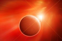Земля планеты с луной Стоковые Изображения RF