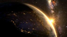 Земля планеты с эффектным восходом солнца, Стоковые Изображения