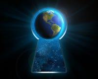 Земля планеты через keyhole стоковые фото