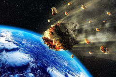 Земля роя метеорита иллюстрация вектора