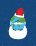 Земля Санта Клауса Мир-новый год Земля с бородой и иллюстрация штока