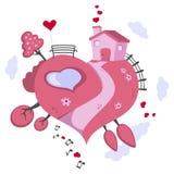 Земля сердца мира влюбленности форменная иллюстрация вектора