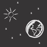 Земля, солнце и звезды Стоковые Фотографии RF