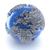 Земля с именами крупных городов в мире иллюстрация штока