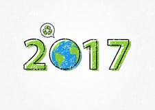 Земля 2017 с рециркулирует иллюстрацию вектора знака Стоковое Изображение