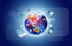 Земля с электроникой, диаграммами и значками Стоковая Фотография RF
