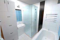 2 зеркала светильника конструкции ванной комнаты ванны 3d люд мозаики голубых творческих пустых нутряных самомоднейших представля Стоковое Изображение RF
