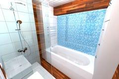 2 зеркала светильника конструкции ванной комнаты ванны 3d люд мозаики голубых творческих пустых нутряных самомоднейших представля Стоковые Изображения RF