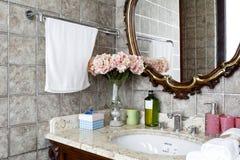Зеркало в ванной комнате пакета шнурка Стоковое фото RF