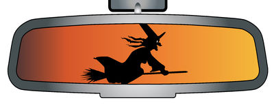Зеркало заднего вида хеллоуина иллюстрация вектора