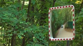 Зеркало улицы около дороги леса Оборудование для обеспечения безопасности, видео 4K сток-видео