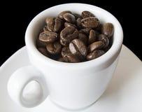 зерна кофейной чашки белые Стоковое Фото