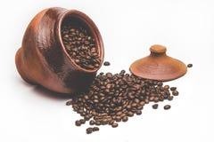 Зерна кофе в декоративном баке Стоковые Изображения