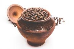 Зерна кофе в декоративном баке Стоковое Изображение