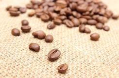 Зерна кофе на предпосылке джута Стоковые Фото