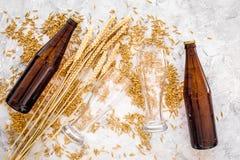 Зерна пивоваренного ячменя около стекла и бутылки пива на сером взгляд сверху предпосылки Стоковые Фото