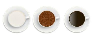 Зерна растворимого кофе, сахара и кофе Стоковые Изображения RF