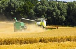 Зернокомбайн разгржая к трейлеру Стоковое Изображение