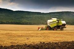 зернокомбайн - сжатая пшеница Стоковое фото RF