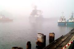 Зернохранилище и краны корабля в порте. Стоковая Фотография RF