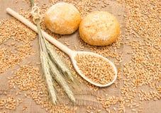 Зерно пшеницы на конце холста вверх Стоковая Фотография RF